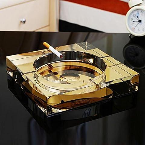 Rollsnownow Cendrier en cristal doré cadeau de personnalité créative Diamètre extérieur 15 * 15 * 3 cm, diamètre intérieur 11 * 11 * 2 cm