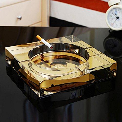 Rollsnownow Gold Kristallglas Aschenbecher kreatives Persönlichkeitsgeschenk Außendurchmesser 18 * 18 * 4 cm, Innendurchmesser 13 * 13 * 2,5 cm