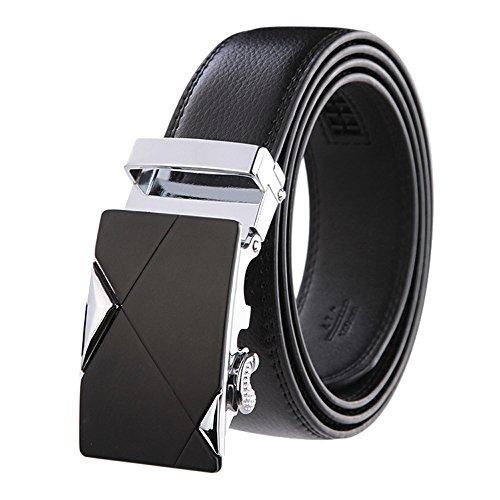 Uomo Nero Luxury Cinture in vera pelle Automatico Fibbia Cintura alla moda all' ingrosso Black4 120 cm