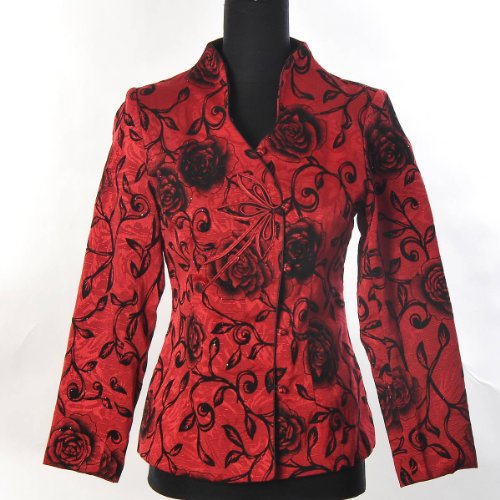 Shanghai Tone® Orientalisch Chinesisch Asiatisch Stickerei Damen Traditionell Elegant Blume Lange Jacke Blazer Mantel Tang Anzug Rot Größe: 32, 34, 36, 38, 40, 42 (Ein-knopf-seide-anzug)