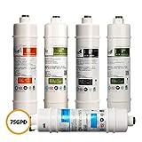 LZH FILTER Kit Filtros ósmosis inversa para Estándar bajo el fregadero 5 Etapas Sistemas de filtración de agua