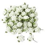 50 Rosenköpfe in Weiß als Streudeko