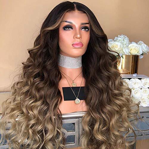 Oyedens Frau Gemischtes Langes Lockiges Haar, MäDchen-Steigungs-NatüRliche Braune Partei-Perücke-Lange Volle Gelockte Haar-Art- Und Weise Synthetische Perücke