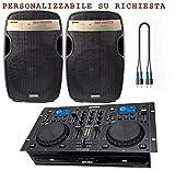 GEMINI BUNDLE 810 - DJ Kit/Consolle Impianto Professionale Per CD, Mp3, Con Casse Amplificate + Cavi