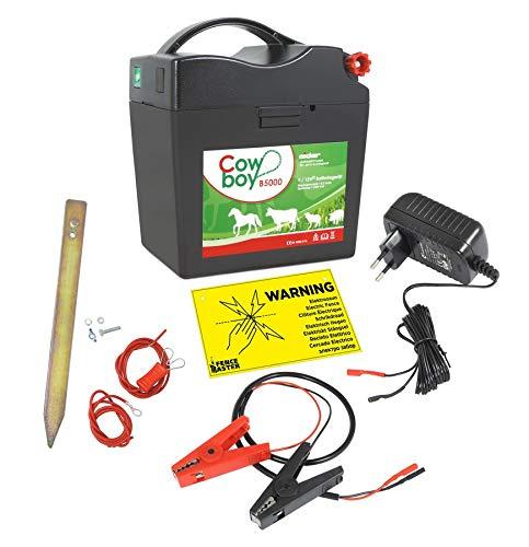 Eider B 5000 - Elettrificatore per recinto Cowboy B 230 V + 12 V + 9 V Gratis - Cartello di avvertimento, Na