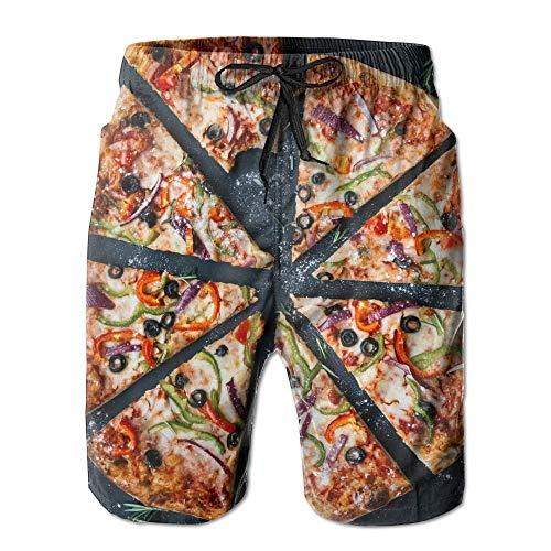 baodingbaigouxinchengkameishipindian Baked Pizza Athletic Men's Quickly Drying Board Shorts Swim Trunk White