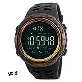 LWPCP Mode Herren Smart Watch Bluetooth Digital Sport Armbanduhr Wasserdicht,Gold