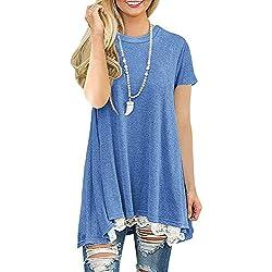 Mujer Blusa Encaje Camisa Mangas Cortas Cuello Redondo Dobladillo Elegante Vestidos Mujer Casual Verano(Azul XXL)