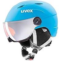 uvex junior visor pro - Casco de esquí con visera para niños, Otoño-invierno, infantil, color Liteblue-White Mat, tamaño 54-56 cm