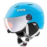 UVEX Kinder Junior Visor Pro Skihelm, Liteblue-White Mat, 54-56 cm