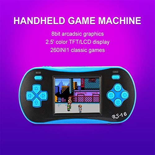 Fcostume Handheld Spielkonsole, 2,5-Zoll-260-IN-Retro-Handheld-Spieler als Geschenk für Kinder (Blau)