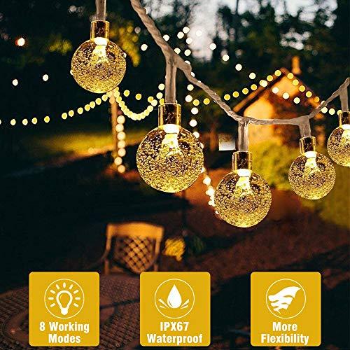 LED Lichterkette Kristallbälle, Beexcellent 7M Warmweiß 30 LED Lichterkette Batterie 8 Modi Wasserdichte IP67 mit Fernbedienung und Timer für Innen/Außen Weihnachten Dekoration, Party, Wedding
