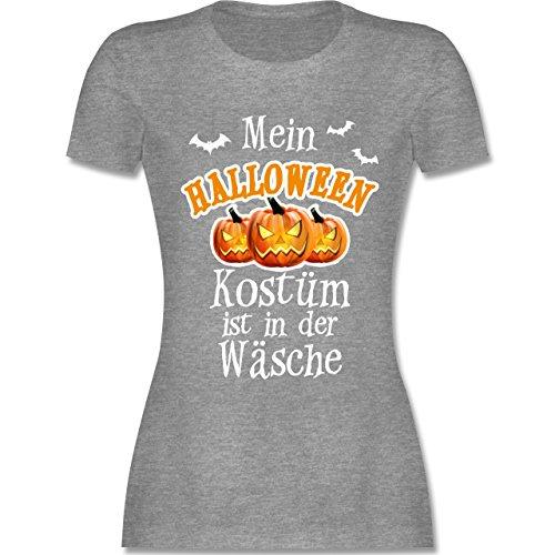 Halloween - Mein Halloween Kostüm ist in der Wäsche - tailliertes Premium T-Shirt mit Rundhalsausschnitt für Damen Grau Meliert
