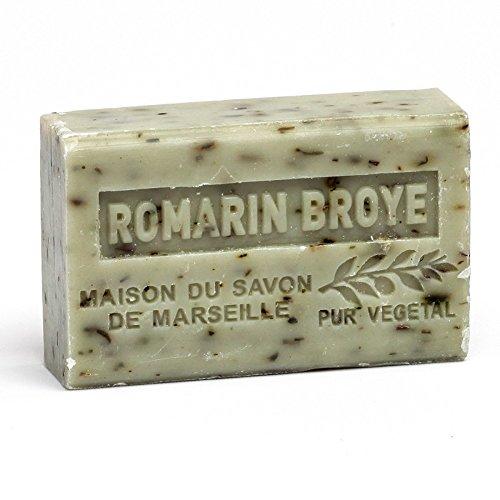 Provenzalische Seife Rosmarin (Romarin broyé) mit Bio-Sheabutter (125 Gramm) (Rosmarin Kräuter-seife)