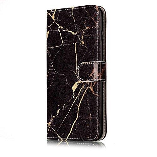 Aeeque® iPhone 6S plus 5.5 pouces Blanc Etui, Luxe Fille et Fleur Motif Dessin Housse Case en Cuir pour les iPhone 6 plus (2014)/6S plus (2015) avec Support/ Pochette/ Magnétique Fonction Lisse Marbre Noir et Or