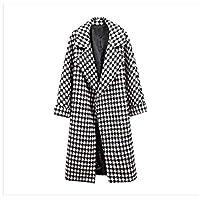 معطف نسائي طويل الأكمام من DressU من الصوف مع جيب سميك ومقاس كبير 1 US XLarge