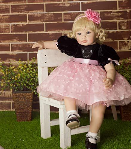ZIYIUI 24 Zoll 60 cm Weichen Silikontuch Körper Reborn Kleinkind Babypuppe Realistisch Real Lebensecht Aussehende Neugeborene Puppen Baby Mädchen Prinzessin