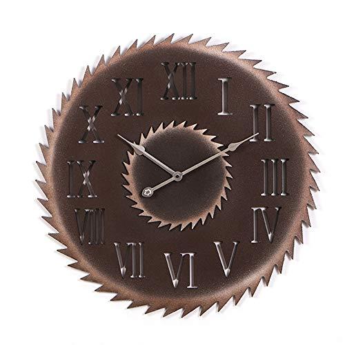 FOOSKOO Wall Clocks Retro Stil Große Wanduhr Vintage Nachahmung Metall Sägeblatt Stummuhren Home Office Cafe Decor 50 cm (Design : A)