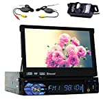 "7""Touch Detachable Screen Bluetooth Car GPS Navigation Player One din Car Stereo DVD CD Audio Player USB SD FM AM Reciver Headunit Steering Wheel Control Single DIN Car Radio with gps map Free Back Camera"