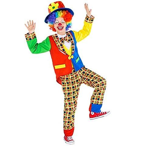 Déguisement pour enfant / ado Clown | magnifique costume bariolé + chapeau mou avec des appliqués de fleurs | arlequin costume carnaval (8-10 ans | no. 300801)