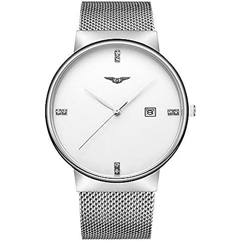 Guanqin Mens Fashion Design analogico da polso vigilanza di affari casual con argento placcato in acciaio inossidabile Band, quadrante bianco, funzione del calendario, quarzo svizzero GS19054