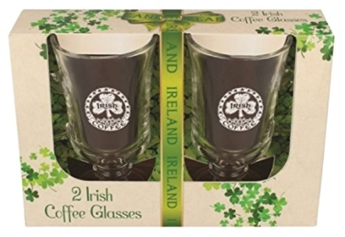 Two Pack of Irish Coffee Glasses with Shamrock and Irish Coffee Design Gläser Irish Coffee