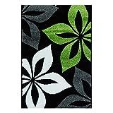 carpet city Teppich Flachflor Modern Moda mit Blumen/Blüten-Muster in Schwarz, Grün für Wohnzimmer; Größe: 120x160 cm