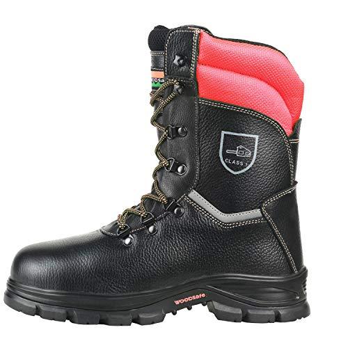 WOODSafe® Herren Schnittschutzstiefel Klasse 1 S3 schwarz/gelb - Forststiefel kwf-geprüft, Stahlkappe, durchtrittsicher, Leder, wasserabweisend, antishock (45 EU)