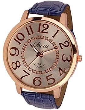 Culater® Frauen Dame groß Römer Zahlen Gold Zifferblatt Leder Quarzuhr Armbanduhr blau