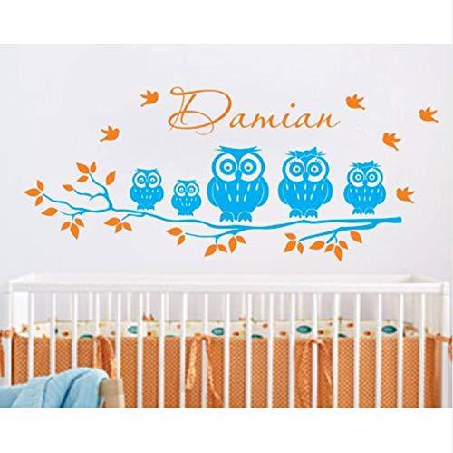 Custom Children Name Wall Mural Family Owl On The Tree Cute Vinyl Wall Sticker Y-670 ()