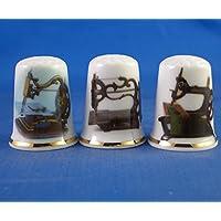 Porcelana China colección de dedales–Conjunto de tres diseño Vintage de máquinas de coser