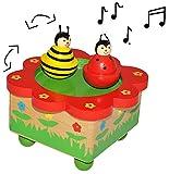 Unbekannt Spieluhr magisch -  Marienkäfer und Biene  - magisch drehende Musikbox - Spieldose für Kinder - Holz - Musikspieluhr magnetisch tanzende Figuren Tiere Blume..