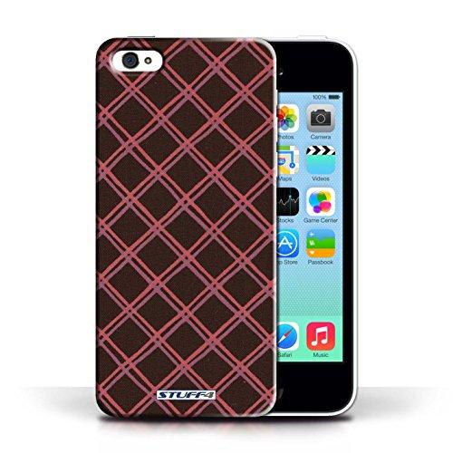 iCHOOSE Print Motif Coque de protection Case / Plastique manchon de telephone Coque pour Apple iPhone 5C / Collection Motif Entrecroisé / Orange Rouge/Noir