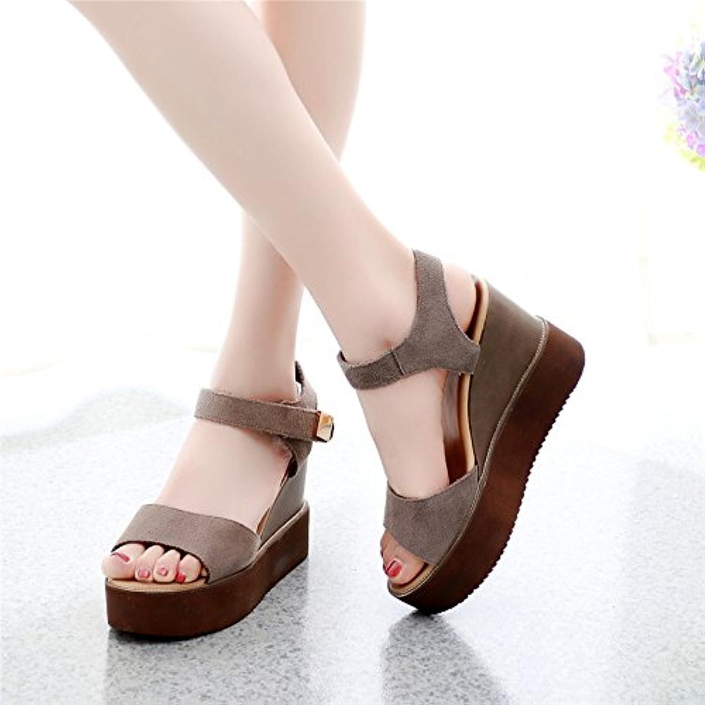 GTVERNH-i sandali donna summer summer summer pendio con spessore inferiore una cintura l'hollow scarpe semplice corrisponde... | Colore Brillantezza  f2aa79