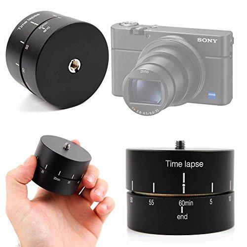 Duragadget supporto girevole time lapse base per fotocamera fujifilm x-t100, sony rx100 vi/dsc-rx100m6, kodak pixpro fz152 friendly zoom - 360°- 60 minuti - vite in acciaio di alta qualità