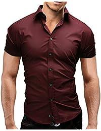 MERISH Chemise Hommes manches courtes Slim Fit Business et casual beaucoup de couleurs différentes adapté pour le travail, les loisirs et toutes autres occasions Modell 77