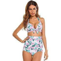 Swiftt Bikini Alta Cintura Cuello Alto Deep v Pajarita 2 Piezas Push Up Traje De Baño Color Puro Mujer