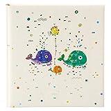Goldbuch Babyalbum, Walfamilie, 30 x 31 cm, 60 weiße Blankoseiten mit 4 illustrierten Seiten und Pergamin-Trennblättern, Kunstdruck mit Silberprägung, Weiß, 15440