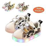 Chaussures Enfant, Chickwin LED Chaussures Lumineuse Bébé Enfant Unisexe Confortable Sneakers Clignotant LED Chaussures (22 / Mesure à l'intérieur (cm) 13.5, Noir)