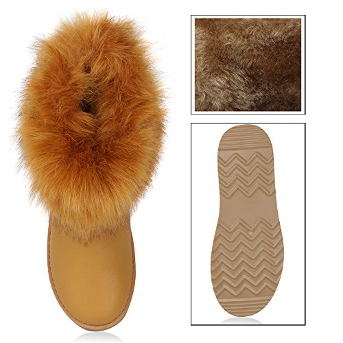 Damen Schuhe Schlupfstiefel Warm gefüttert All Hellbraun