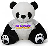 CLICK4DEAL Big Teddy Bear 5 Feet Long Wearing A Happy Birthday T-Shirt ( Bear 152 Cm ) With Free Heart Shape Pillow (Panda)