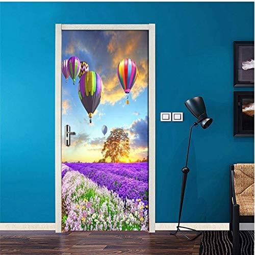 UDGDJA Heißluftballon Lavendel Blume Meer 3D Poster Wand Tapete Moderne Wohnzimmer Schlafzimmer Tür Aufkleber Selbstklebende Kontakt Papier 77X200 cm