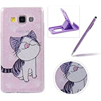 Glitter Case for Samsung Galaxy A5 2015,Crystal TPU Cover for Samsung Galaxy A5 2015,Herzzer Ultra Slim Creative [Cute Kitten Pattern] Bling Sparkly IMD Design Shock-Absorbing Soft Silicone Gel Bumper Cover Flexible TPU Transparent Skin Protective Case