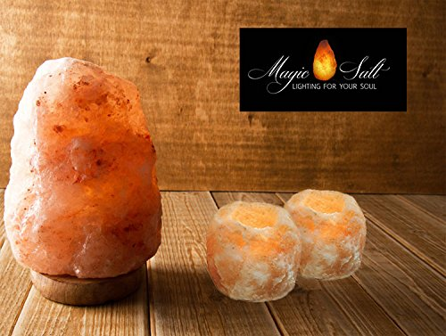 Lámpara de Sal del Himalaya - MAGIC SALT ® Lighting For Your Soul - (2/3 Kg + 2portavelas)