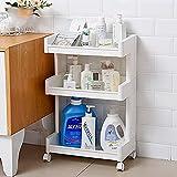 #9: Storage Wheel Trolley By House of Quirk 3 Tier Plastic Bathroom Kitchen Storage Rack (White)