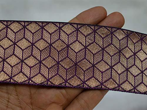 Ruban en brocart violet de 5,1 cm - Superbe motif géométrique pour la conception de robe - Belles garnitures en dentelle jacquard indien pour couture de tissu et projets d'artisanat.