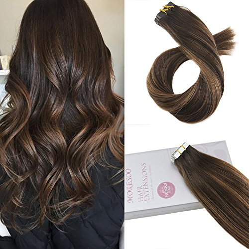 Moresoo 14 zoll Tape in Hair Balayage Colored Hair Dark Brown #2 Ombre to Brown #6 Highlighted with #2 100 Real Menschliches Haar Tape Remy Menschliches Haar Extensions 20pcs/50g -