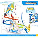 MousePotato Funny Penguin Race Track Twinkling Lights & Music Battery Operated Toy