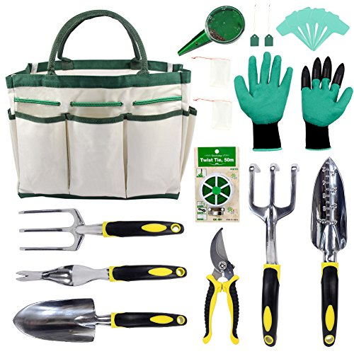 KEAYOO Gartenwerkzeuge Set - 12 in 1 Set mit Rostfrei Gartengräte, Tasche, Gartenhandschuhe, Seed Tasche und Sämann, Plant Labels - Ideale Geschenk für Oma