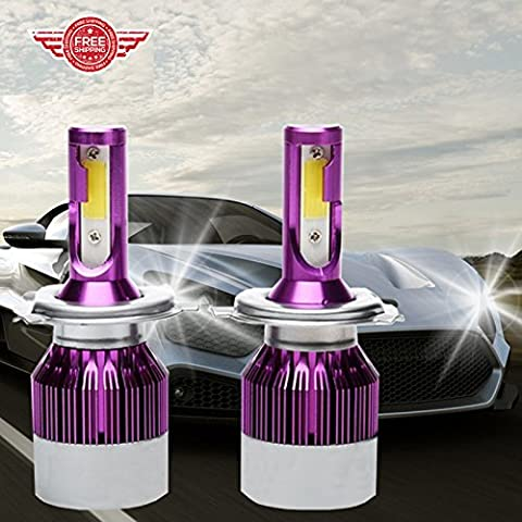 H4 LED Ampoules de phare Voiture/Moto, haute et basse Faisceau Super Bright Lampe frontale de remplacement de conversion kit 6000 K 55 W Super Bright (Package of